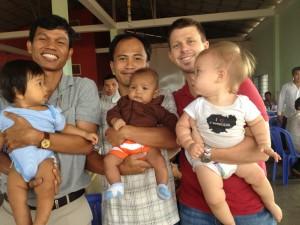 Rady with Sasda(8 months), Samphas with Visal(4 months), Garth with Lyla(17 months)
