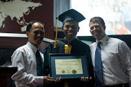 Garth presenting one of our key Cambodian staff leaders with his diploma!