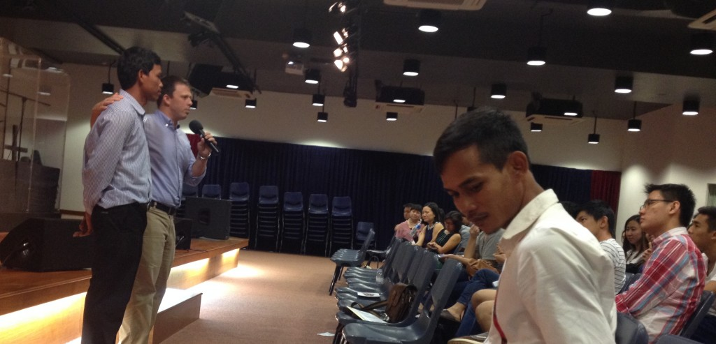 Thankful for continual opportunities to share about what Jesus is doing in Cambodia. Here Garth is with our Cambodian friends preaching at a Singaporean church.