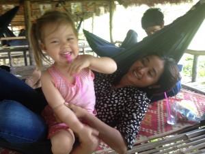 Lyla hanging out in true Cambodian-fashion, in a hammock