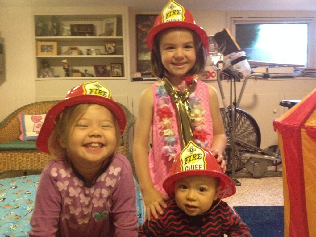 Playing firefighters with cousin Gianna