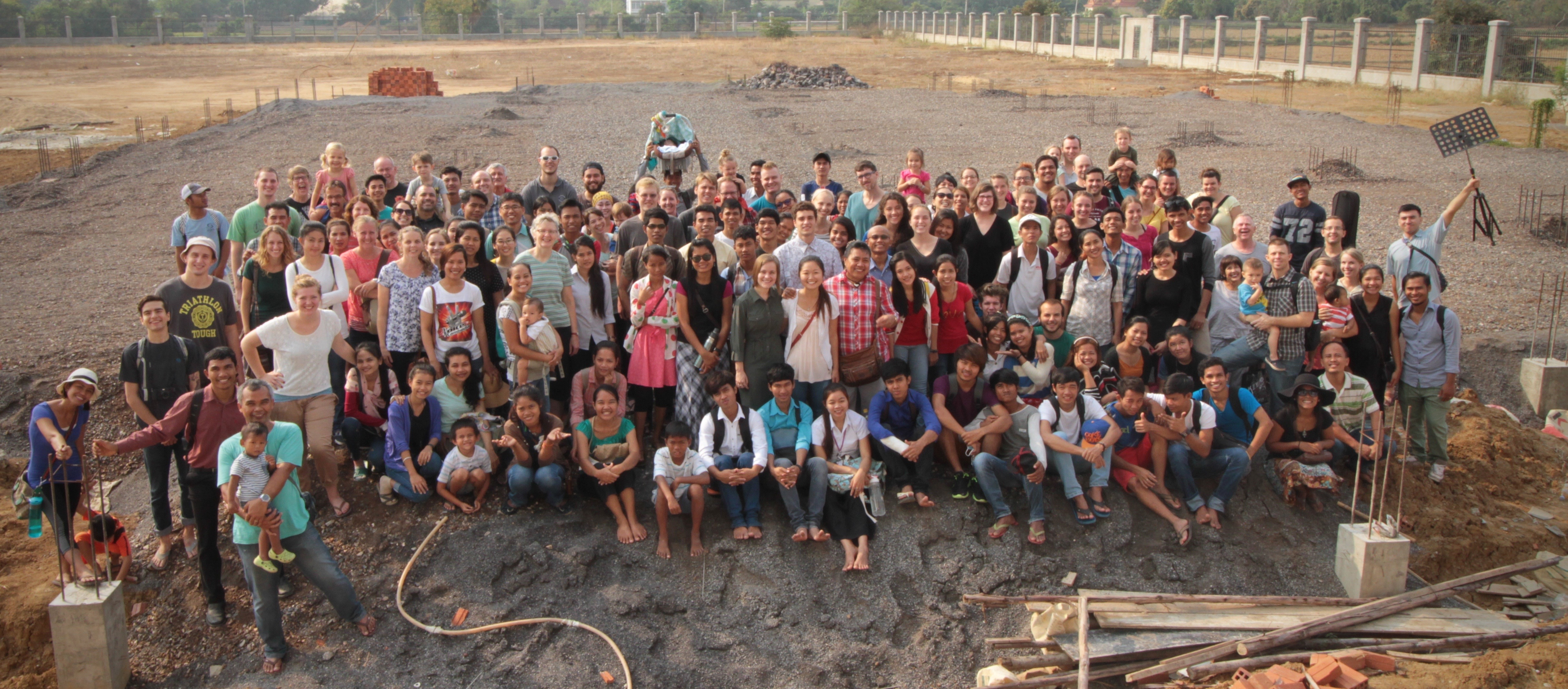 Some of our staff and students at the beginning of the year on the new campus